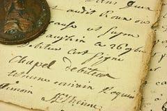 Papel escrito mano del vintage Fotos de archivo libres de regalías