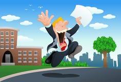 Papel feliz da posse do homem de negócios Imagens de Stock