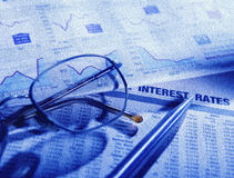 Papel financiero de la bolsa Fotos de archivo