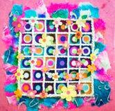 Papel hecho a mano de las flores con la tabla de la cuerda Foto de archivo