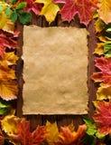 Papel hecho a mano y hojas   Fotos de archivo
