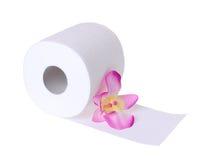 Papel higiénico con la flor hermosa de la orquídea aislada ilustración del vector