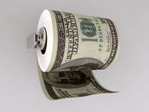 Papel higiénico del dólar Imagen de archivo