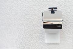 Papel higiênico no cromo luxuoso, decoração interior do banheiro luxuoso, b fotos de stock