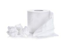 Papel higiênico, rolo do lenço de papel isolado no branco fotografia de stock