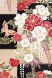Papel japonês tradicional do origâmi do teste padrão ilustração stock