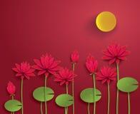 Papel Lotus del vector Foto de archivo