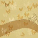Papel manchado velho com borboletas Fotos de Stock