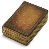 Papel marrón de la cubierta de libro viejo sobre el fondo blanco Foto de archivo libre de regalías