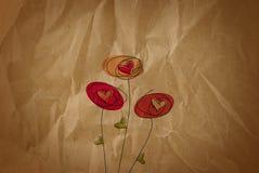 Papel marrom velho do Valentim com flores ilustração stock