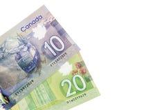 Papel moeda canadense Foto de Stock Royalty Free