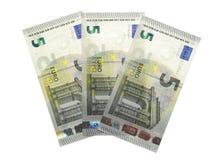 Papel moeda novo do dólar da cédula do euro cinco 5 Fotografia de Stock