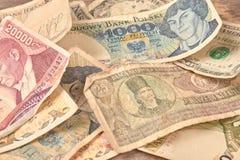 Papel moeda retro do mundo, fim acima fotografia de stock