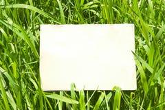 Papel na grama verde imagens de stock