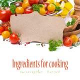 papel para la receta, clasificado de los tomates de cereza y de las hierbas Foto de archivo libre de regalías