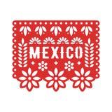 Papel Picado, decorações de papel mexicanas para o partido Composições cortadas para a festão de papel ilustração stock