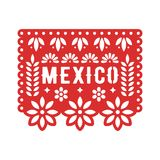 Papel Picado, Mexican paper decorations for party. Cut out compositions for paper garland. stock illustration