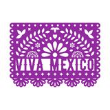 Papel Picado, Mexican paper decorations for party. Paper garland. Cut out compositions with text Viva Mexico. Vector template design stock illustration