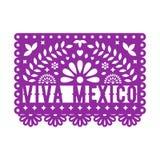 Papel Picado, pappers- garneringar för mexikan för parti Pappers- girland stock illustrationer