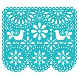 Papel Picado vector template design, Mexican paper decorations with birds and flowers, traditional fiesta banner in turquoise. Traditional banner form Mexico stock illustration