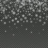 Papel pintado aislado copo de nieve de la decoración del invierno del vector que cae stock de ilustración