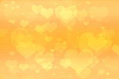 Papel pintado amarillo del fondo de los corazones Fotografía de archivo
