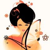Papel pintado asiático de la muchacha Fotos de archivo