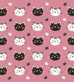 Papel pintado blanco y negro del gato Fotografía de archivo libre de regalías