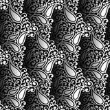 Papel pintado blanco y negro inconsútil del vector de Paisley Fotos de archivo libres de regalías