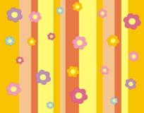 Papel pintado con las flores y las tiras. Imagen de archivo