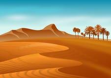 Papel pintado con paisaje natural del desierto con las dunas, las montañas y la palmera de arena Ilustración stock de ilustración