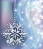Papel pintado congelado elegante del Año Nuevo con el copo de nieve del diamante Fotografía de archivo libre de regalías