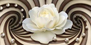 papel pintado 3d, rosa blanca y perlas en fondo de las ilusiones ?pticas stock de ilustración