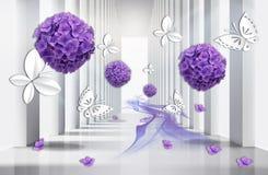 papel pintado 3D, túnel de la arquitectura con las flores púrpuras de la hortensia y mariposas stock de ilustración