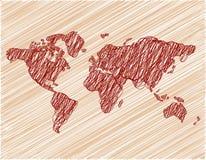 Papel pintado de Brown con el mapa del mundo fotografía de archivo libre de regalías