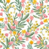 Papel pintado de la acuarela del vintage de flores y de la hoja dibujadas mano Foto de archivo