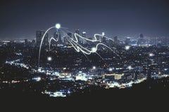 Papel pintado de la ciudad de la noche Imagenes de archivo