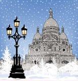 Papel pintado de la ciudad Nevado Fondo de la nieve del día de fiesta de la Navidad del invierno ilustración del vector
