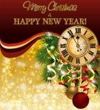 Papel pintado de la Feliz Navidad y del Año Nuevo con el reloj de Navidad, vector ilustración del vector