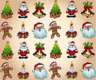 Papel pintado de la Navidad con los varios elementos del diseño libre illustration
