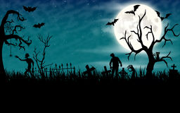 Papel pintado de la noche de Halloween con los zombis y la Luna Llena Fotografía de archivo libre de regalías