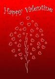 Papel pintado de la tarjeta del día de San Valentín feliz con el árbol y los corazones Imagenes de archivo