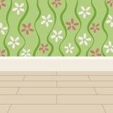 Papel pintado de las flores del fondo del piso y de la pared ilustración del vector