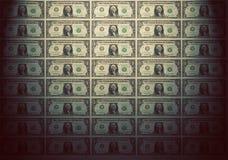 Papel pintado de los billetes de banco de un dólar Humor del vintage Fotografía de archivo