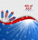 Papel pintado de los E.E.U.U. para el Día de la Independencia, colores nacionales tradicionales, Rockets, fuegos artificiales imagen de archivo