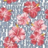 Papel pintado de los hibiscos con el fondo escrito Foto de archivo libre de regalías