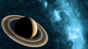 Papel pintado de Saturno del planeta con la nebulosa y las estrellas azules ilustración del vector