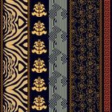 Papel pintado de seda del vintage del art déco con adornos étnicos y elementos bohemios Fotografía de archivo libre de regalías