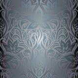 Papel pintado decorativo brillante floral de plata del vintage fotos de archivo