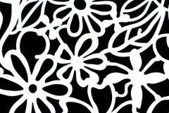 Papel pintado decorativo con las flores blancas en fondo negro Foto de archivo libre de regalías